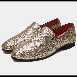 Gold Glitter Shoes Loafers
